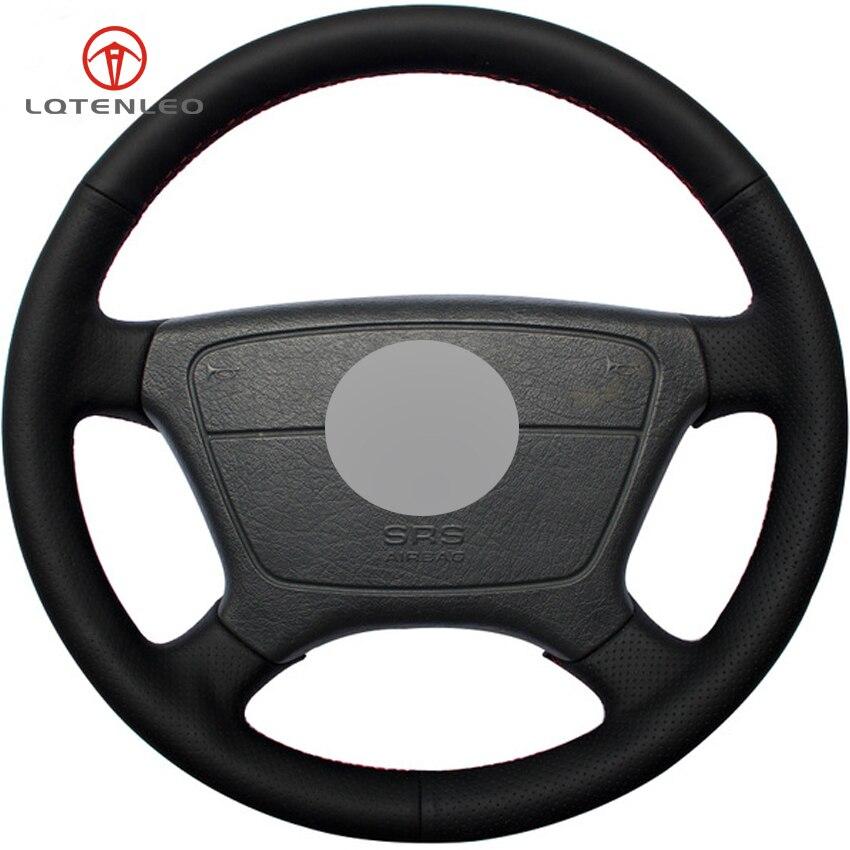 Black Leather Steering Wheel Cover for Benz E Class W210 E 200 240 280 W140 S320