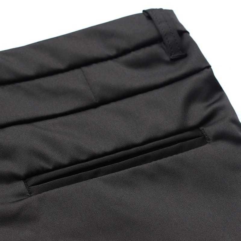 韓国ファッションスリムフィットメンズスマートカジュアル全身鉛筆パンツスムースブラック事務服正式な男性のサイズ 28-35