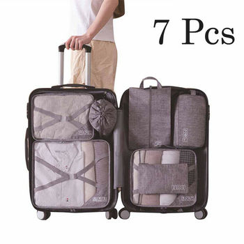 Faroot New Arrival 7PCS Packing Cubes Luggage Storage Organiser Travel Compression Suitcase Bags Hanging Organizers