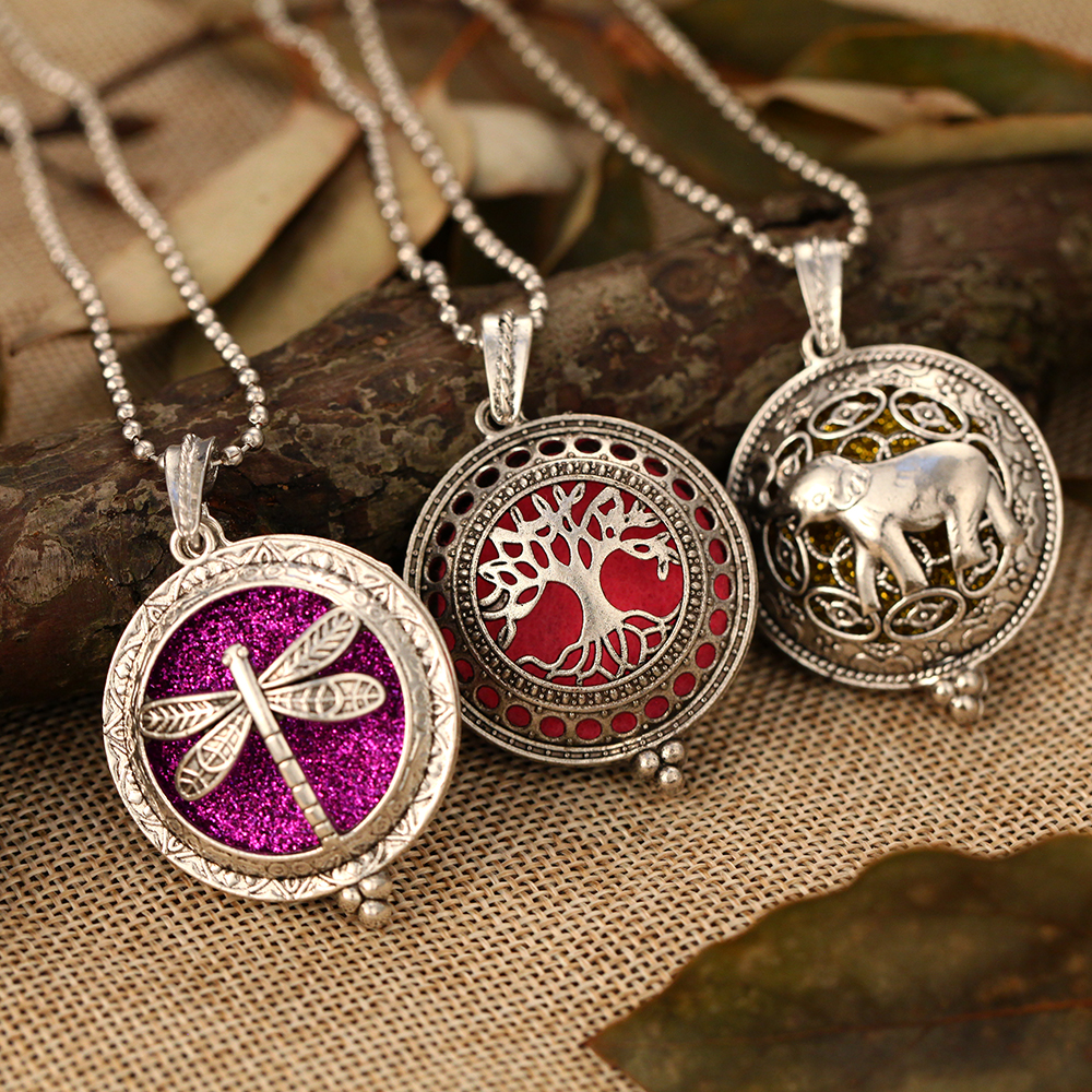 Aroma Diffuser Necklace Aromatherapy Jewelry Pendant Tree Elephant Dragonfly Perfume Essential Oil Diffuser Locket Necklace