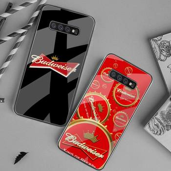 HPCHCJHM, carcasa de teléfono de verano con cerveza fría Budweiser, color negro suave, cristal templado para Samsung S20 Plus, S7, S8, S9, S10 Plus, Note 8, 9, 10 Plus