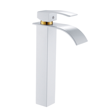 Bathroom Basin Faucet Deck Mount Waterfall Bathroom Faucet Vanity Vessel Sinks Mixer Tap Single Handle Cold And Hot Water Tap 10