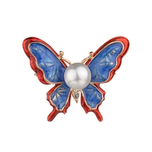 Gariton Blue Color Handmade Corsage Alloy Animal Brooch Badges Jewelry Accessories Pearl Butterfly Brooch rhinestoned butterfly brooch
