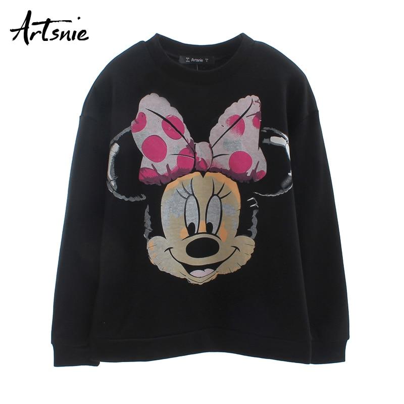 Artsnie Black Casual Cartoon Women Sweatshirt Autumn 2019 O Neck Long Sleeve Hoodies Streetwear Knitted Winter Sweatshirts Mujer