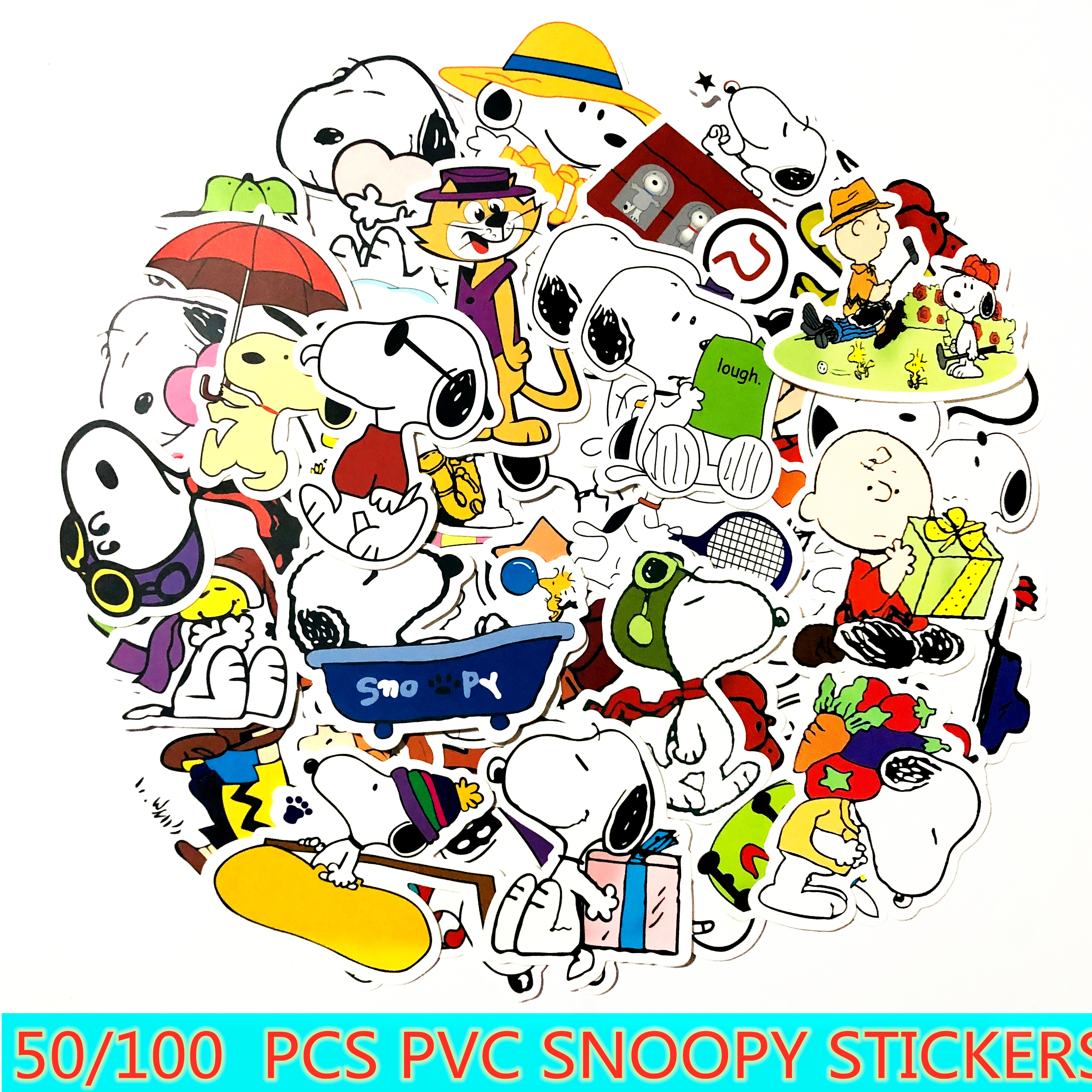 50/100pcs cartoon Snoopy stickers For Laptop Skateboard Luggage Decal Office Toy Appliances netbook waterproof stickers-in Stickers from Toys & Hobbies