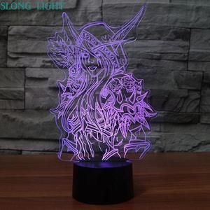 Image 1 - 3d Lamp World Of Warcraft Childrens Night Light Led Bedroom Decor Holiday Gift Wow Sylvanas Windrunner Kids Night Lamp USB