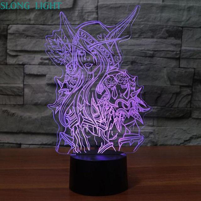 3d Lamp World Of Warcraft Childrens Night Light Led Bedroom Decor Holiday Gift Wow Sylvanas Windrunner Kids Night Lamp USB
