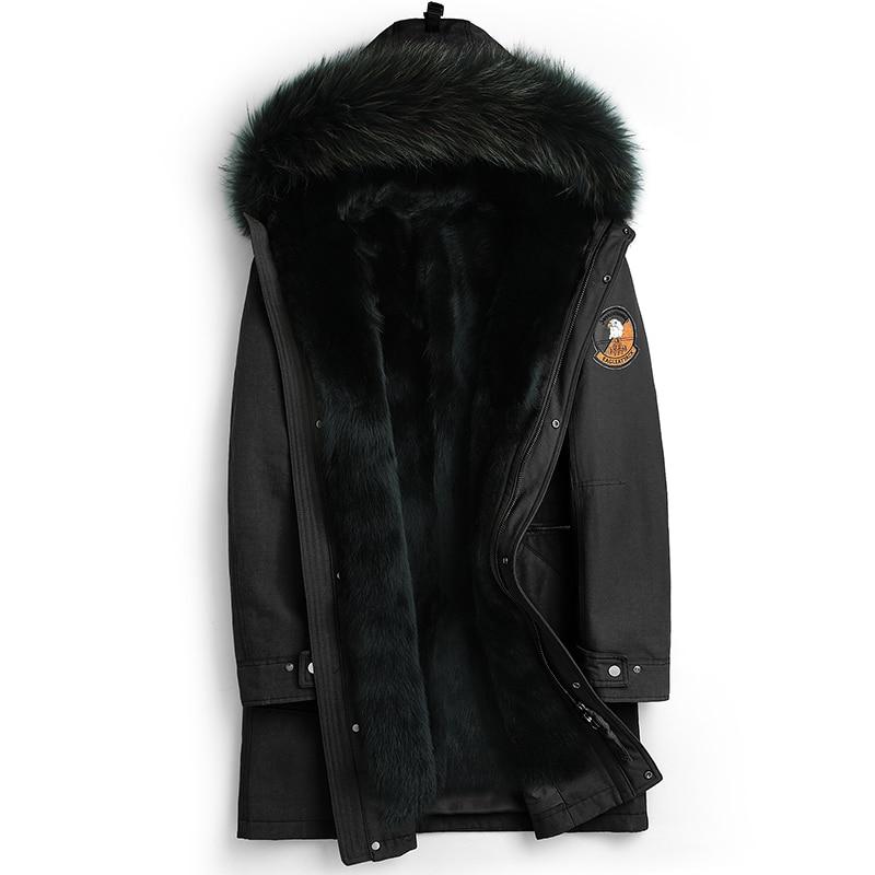 Parka Real Fur Winter Jacket Men Real Mink Fur Liner Long Coat Raccoon Fur Collar Parkas Plus Size ZLM15063-6 MY1194