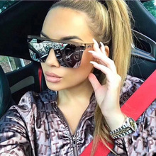 Oversized Square Sunglasses Women Luxury Brand Fashion Flat Top Big Pink Black Clear Lens One Piece Female Gafas Shade Mirror