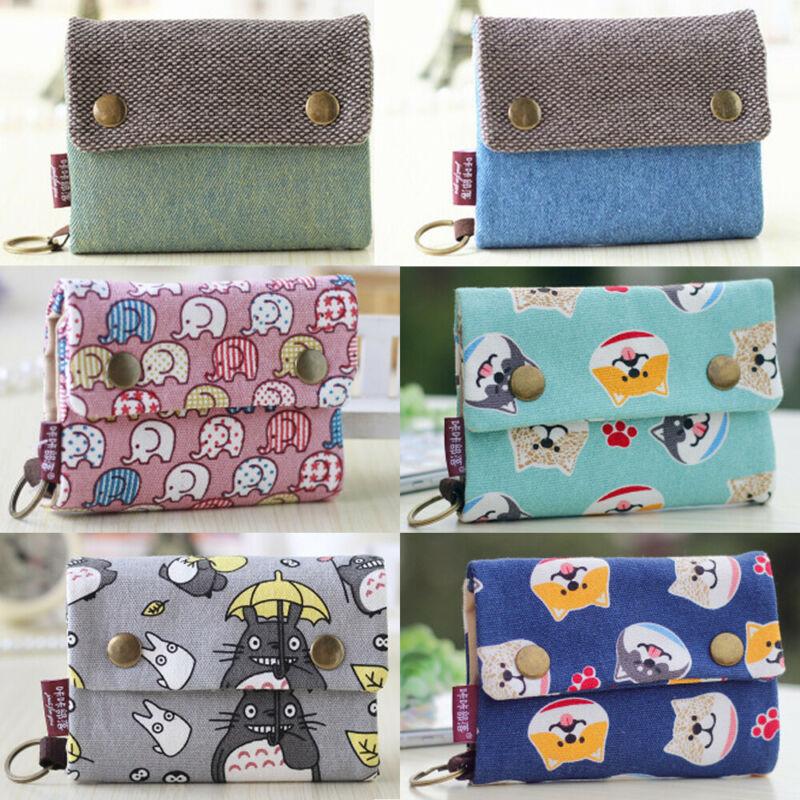 Cute Women Girls Cat Pattern Short Card Holders Handbag Coin Purse Wallet
