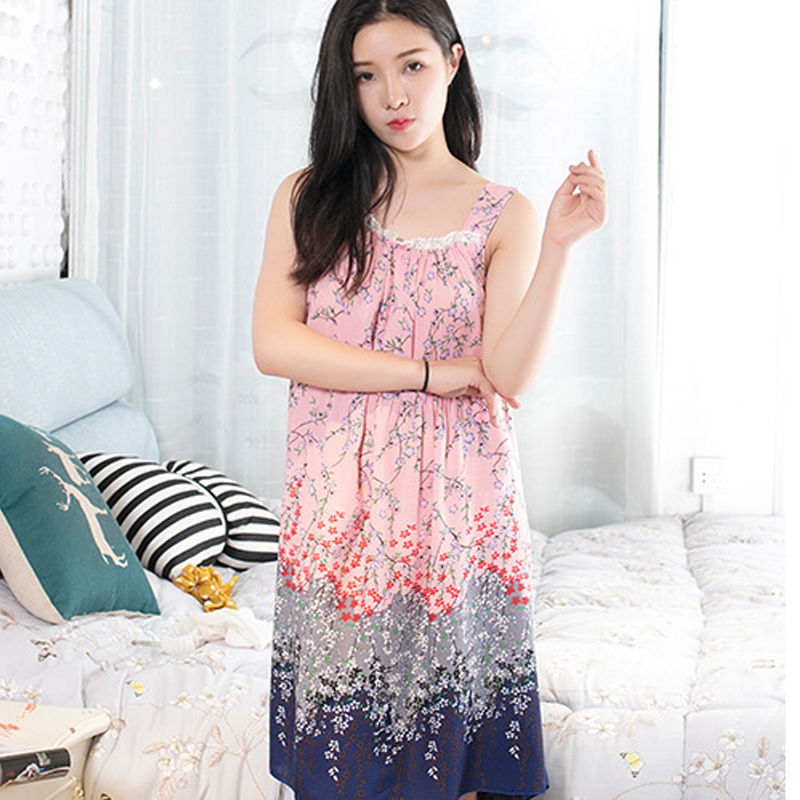 2020 Women's Midi Night Dress Printing Loose Elegant Feamle Sleepwear Sleeveless Spaghetti Strap Casual Nightwear for Women 13