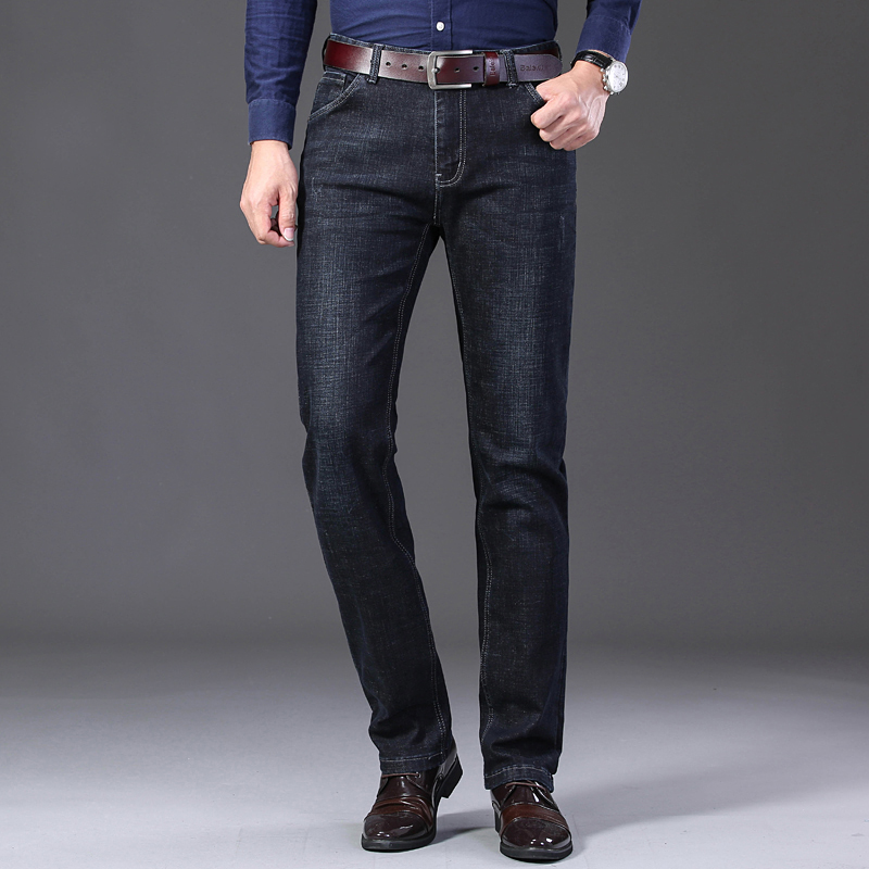 KSTUN Winter Jeans Men Black Jeans Business Casual Classic Direct Straight Long Trousers Businessman Gentlemen Denim Jeans Men 11