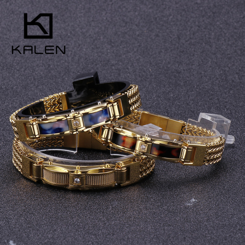 KALEN New Gold Color Stainless Steel Link Chain Bracelets For Men Magnet Clasp Shell Male Charm Bracelets Jewelry Accessory
