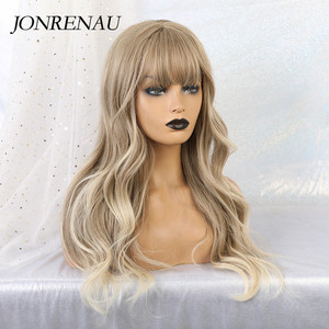 Image 2 - JONRENAU Synthetic Ombre Brown Mixed Blonde Wigs with Bangs Long Natural Wave Hair Party Wigs for White/Black Women