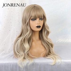 Image 2 - Jonrenau合成オンブル茶色の混合ブロンドかつら前髪ロング自然なウェーブヘアー白人/黒女性