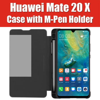 Перейти на Алиэкспресс и купить DFH MOMAX Mate20 X 5G HUAWEI M Стилус слот чехол умный флип-чехол с держателем карандаша MATE 20 X подставка флип-чехол