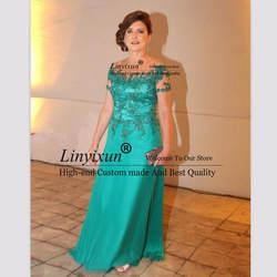 Зеленый для матери невесты Платья с круглым вырезом с короткими рукавами, с аппликацией длинные платья для мам Для держащих букет невесты