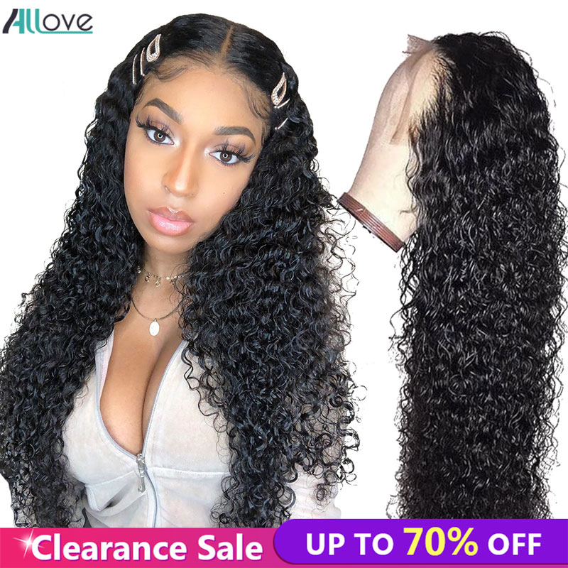 Allove Curly Lace Front Wig Pre Plucked Malaysian Curly Wig 13x4 Curly Human Hair Wigs For Women Lace Front Human Hair Wigs