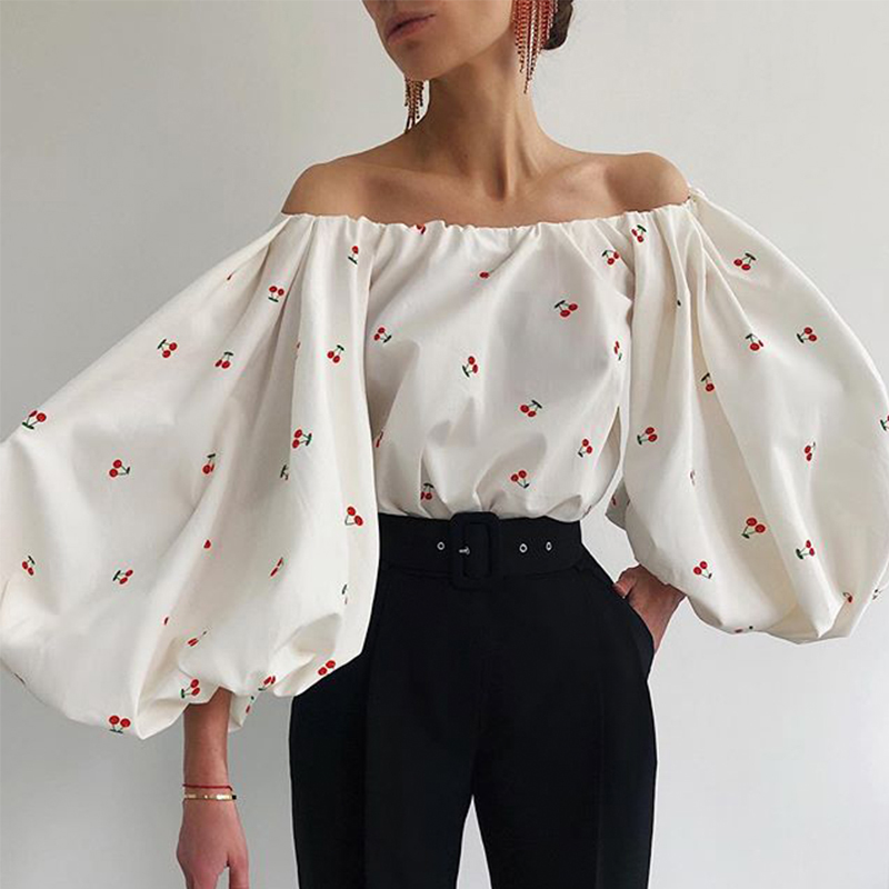 Sexy Slash Neck Print Flower Lantern Sleeve Women Summer Blouse Shirt Ladies Casual Slim Boho Harajuku Holiday Tops 2020 SJ6116E