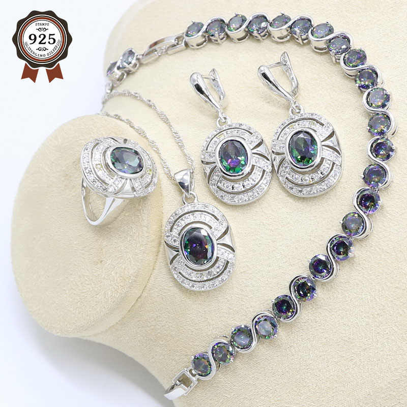 Geometric Rainbow Zircon 925 Silver Jewelry Set for Women with Bracelet Earrings Necklace Pendant Ring Gift Box