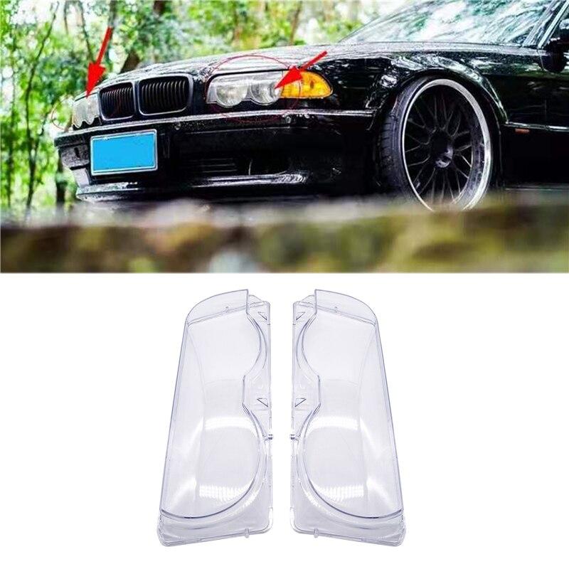 Car Headlight Glass Cover Clear Transparent Automobile Left Right Headlamp Head Light Cover Case For BMW E38 728i 730i