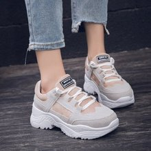 Купить с кэшбэком 2019 women sneakers Winter Warm Platform Woman fur Plush inlole Female suede lace-up Casual chunky Sneakers femme ladies shoes