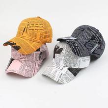Peaked-Cap Summer Brand Sun-Hat Spring Letters Couple Newspaper-Pattern Korean-Version