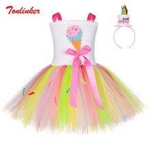 Праздничные вечерние юбки ярких цветов с героями мультфильмов для девочек+ головной убор, радужная пачка из тюля, юбка платье на день рождения для девочек рождественское представление, бальное платье