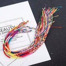 10 pçs/set de cor colorida arco-íris misturado trançado mulheres braceletsjewelry presente festa da menina charme artesanal corda cor aleatória