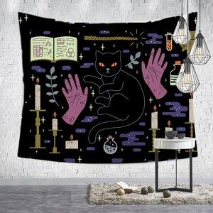 Image 1 - Loartee เวทมนตร์ Ouija Cat Tapestry Psychic Magic โหราศาสตร์การ์ตูน Bohemian Hippie Divination บ้านแขวนผนังผ้าห่ม