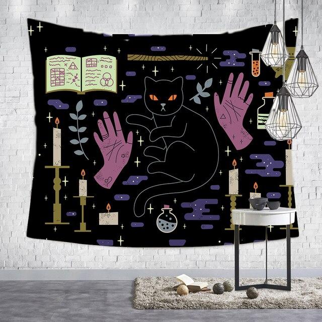 Loartee เวทมนตร์ Ouija Cat Tapestry Psychic Magic โหราศาสตร์การ์ตูน Bohemian Hippie Divination บ้านแขวนผนังผ้าห่ม