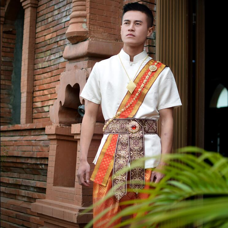 Thai Style Dai Water Sprinkling Festival Clothes Men Suits Shirt +Pants + Waistband Photo Travel Show Summer Beige Orange Outfit
