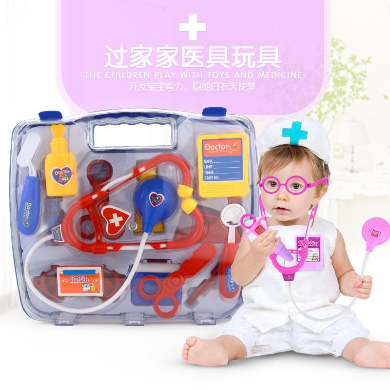 15 pièces/ensemble enfants semblant jouer docteur infirmière jouet valise Portable Kit médical enfants éducatifs jeu de rôle jouets classiques pour les enfants