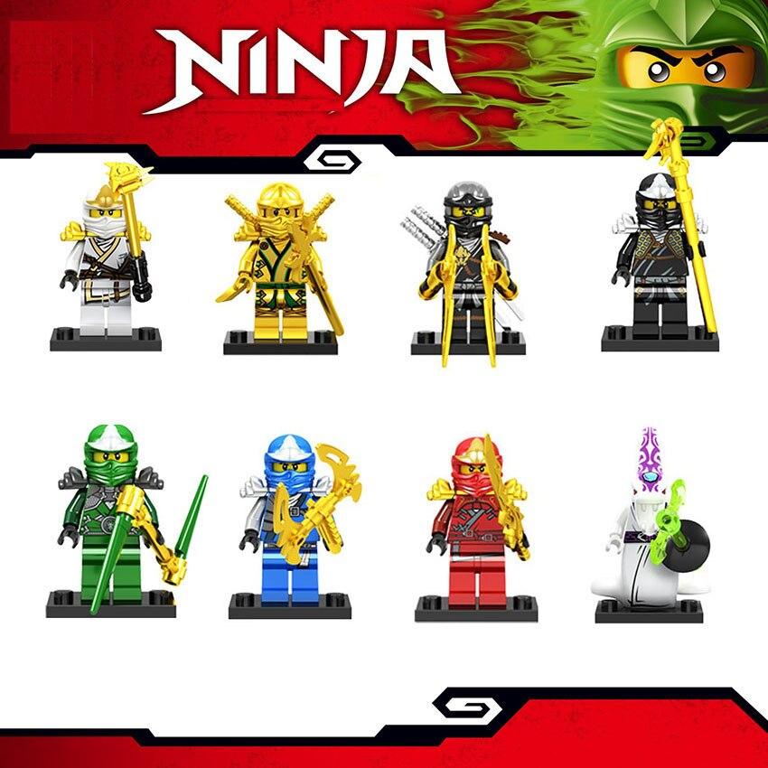 2019 8 ชิ้น/ล็อต NINJA Heroes อาคารบล็อก Golden Kai Jay Cole Zane Lloyd Pythor Legoinglys Ninjagoingly Action Figures ของเล่น