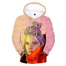 HEFLASHOR Harajuku New Hoodie American Singer Billie Eilish 3D Hoodies Women Sweatshirt Men Pullovers