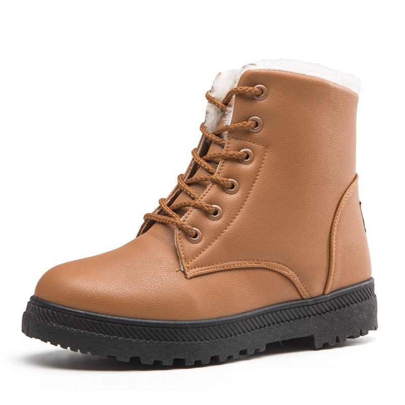 Women Snow Boots  6Eye High Quality Leather Platform Winter Boot Men Casual Warm Woman Shoes Fashion Women Boots
