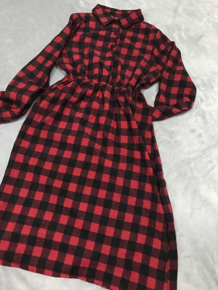 Retro Autumn Winter Corduroy Floral Polka Dot Dress Women Long Sleeve Lapel Print Medium Long Slim Lady Dress