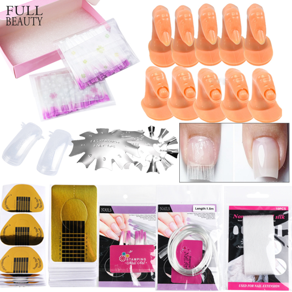 Nail Set Nail Art Fiberglass Extension Tip Gel Polish Extension Forms Manicure Tools Set Kit False Nail Practice Tools CH1602