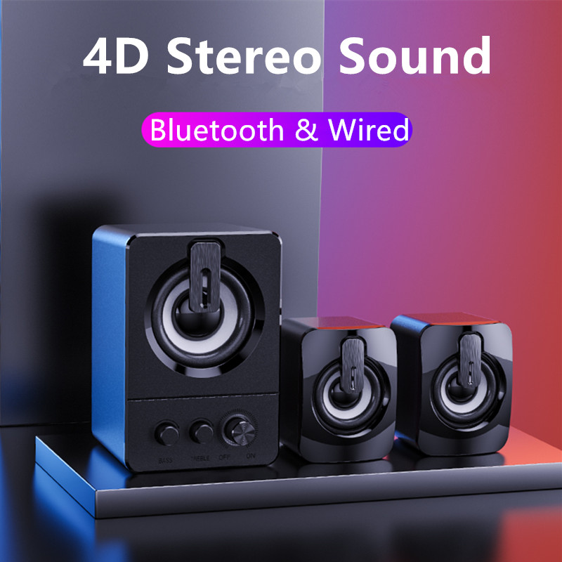 Computer Speaker 4D Surround Sound Mini Subwoofer Music Speaker for Laptop Notebook PC Phone Stereo Bluetooth Loudspeaker