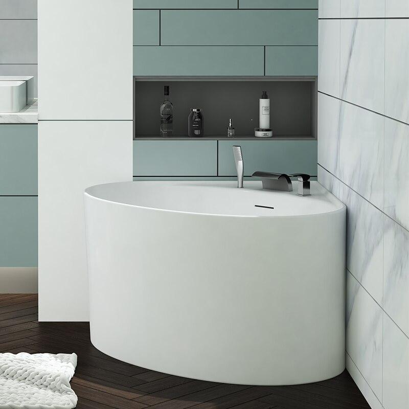 Aojin acrílico banheira pequena família triangular ventilador-em forma de canto doméstico 1000mm comum bacia de banheira independente-1