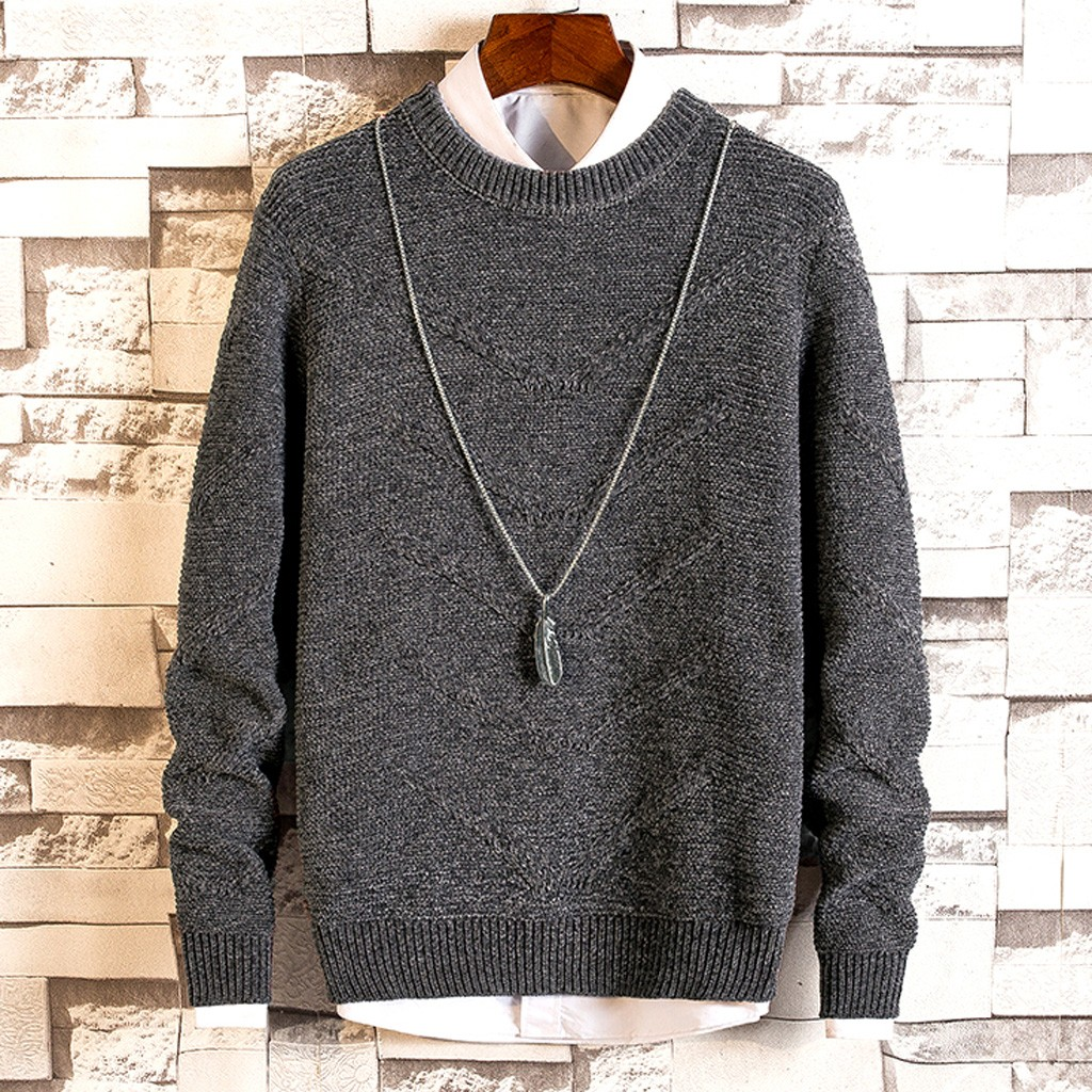 Men's New Autumn Winter Casual Long Sleeve Knitting Sweaters Tops Blouse Slim Fit Male Knitted Pullovers Winter Thick O-Neck10.5