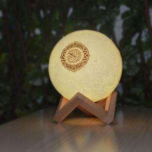 Image 4 - 15x15 ซม.Quran ลำโพงไร้สายบลูทูธรีโมทคอนโทรล LED Nigt โคมไฟดวงจันทร์ Quran ลำโพง 10 เมตรระยะทางที่มีประสิทธิภาพ USB ชาร์จ