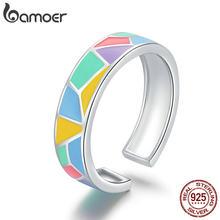 Bamoer 925 ayar gümüş geometrik renkli emaye açık parmak yüzük kadınlar için geniş bant ücretsiz boyutu yüzük takı BSR126