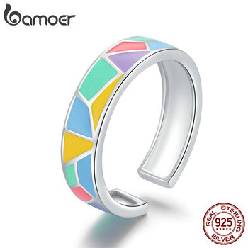 bamoer 925 Sterling Silver Geometric Colorful Enamel Open Finger Rings for Women Wide Band Free Size Ring Jewelry BSR126 - discount item  46% OFF Fine Jewelry