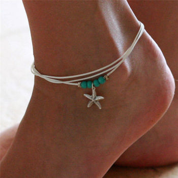 New Multi Layer Anklet Leg Bracelet Vintage Acrylic Beads Starfish Anklets For Women Girls Handmade Bohemian Jewelry image