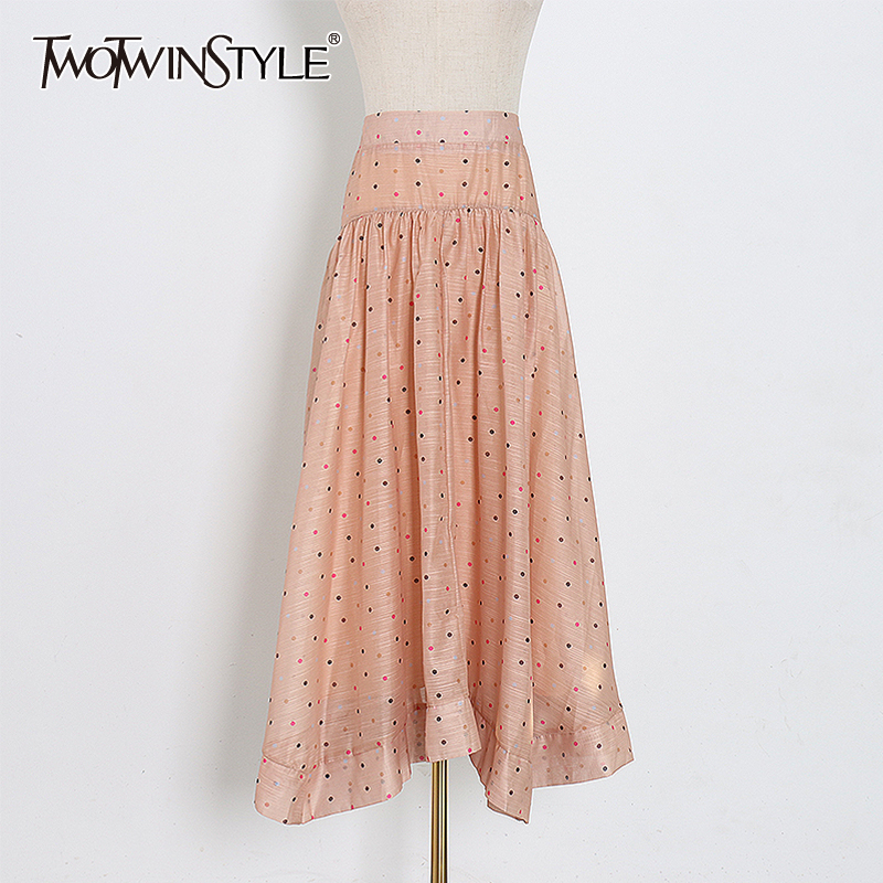 TWOTWINSTYLE Polka Dot Skirt For Women High Waist Hit Color A Line Ruched Casual Skirts Female 2020 Spring Fashion New Clothing
