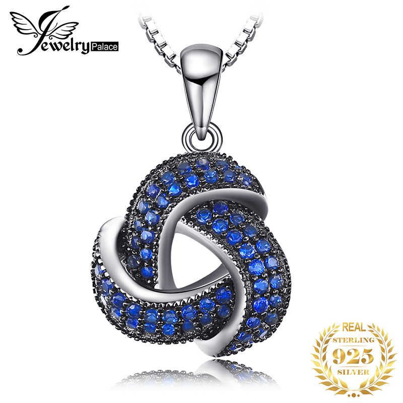 JPalace Flower Created Blue Spinel Pendant Necklace 925 Sterling Silver Gemstones Choker Statement Necklace Women Without Chain