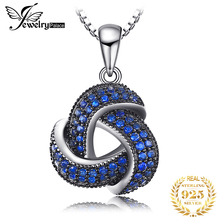 JewelryPalace 0.5ct Created Blue Spinel Flower Wraparound Cluster Pendant Necklace 925 Sterling Silver Jewelry for Women  недорого