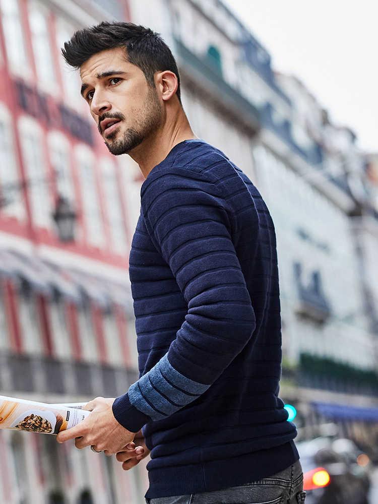 Kuegou 2020 primavera algodão listra azul camisola dos homens pulôver casual jumper para o uso masculino marca de malha estilo coreano roupas 17023