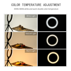 Image 5 - 6 inch Dimmable Cold Warm LED Studio Camera Ring Light Photo Phone Video Light Lamp With Tripods Ring Table Fill Light For Canon